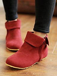 Women's Shoes Round Toe Wedge Heel Flocking Ankle Boots with Zipper More Colors available