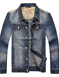 Herrenmode Spleißen Jeansjacke