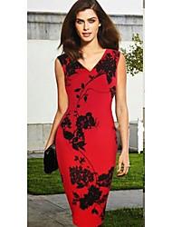 Monta Women's Sleeveless V-Neck Flower Print Bodycon Slim Dresses