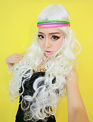 Gypsy Girl White Long Curly Hair 65cm Women's Halloween Party Wig