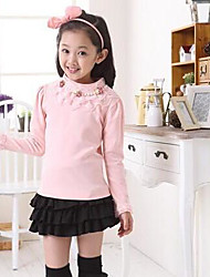 Girl's Pink / White Tee Cotton Blend Fall