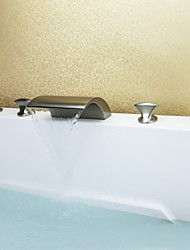 Contemporary Nickel Brushed Five Holes Three Handles Waterfall Bathtub Faucet with Hand Shower