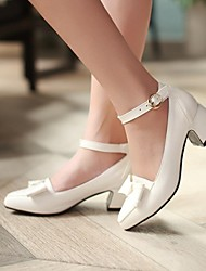 Women's Shoes Leatherette Spring / Summer / Fall / Winter Heels / Mary Jane / Pointed Toe Heels Dress Chunky Heel Bowknot Red / White
