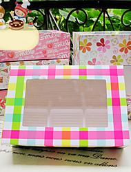colorido del arco iris de la torta sombrío cajas del favor con 6 cheques