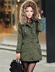 zeagoo цветом меховой воротник тепловой пальто женщин