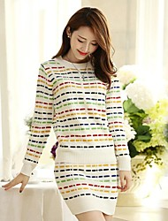 Women's O Neck Colorful Stripes Pullover Clothing Sets(Sweater&Skirt)