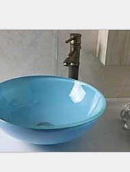 голубой раковина вокруг бассейна закаленное стеклянный сосуд со смесителем набор