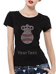 algodão mangas curtas strass personalizado t-shirt do futebol e do teste padrão da coroa das mulheres