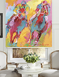 Abstract Oil Painting Style Competition Horse Ahletes Roller Shade