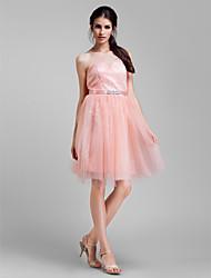 Lanting Bride® Mi-long Tulle Robe Convertible Robe de Demoiselle d'Honneur - Trapèze Grande Taille / Petite avecBilles / Ceinture /