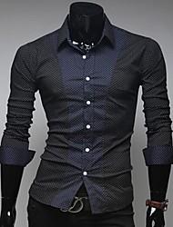 Manlodi Men's Wave Point Color Blcoking Slim-Fitting Shirt