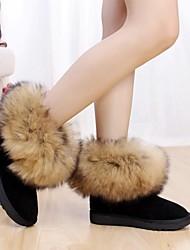 botas de couro de vaca térmicas curta das mulheres com grande lã