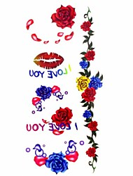 1pc Sexy Lips Rose Waterproof Tattoo Sample Mold Temporary Tattoos Sticker for Body Art(18.5cm*8.5cm)