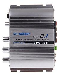 suoer fils-169 300W multifonction amplificateur de puissance audio stéréo de voiture (d'argent)