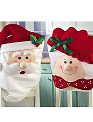 2Pcs/Set Mr & Mrs Santa Claus Kitchen Table Chair  Covers