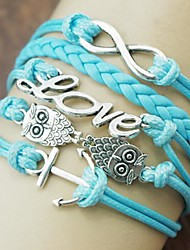 número búho ancla 8 aleación amor pu pulsera de moda shixin® 18cm de las mujeres para enrollar el cable (azul) (1 unidad)