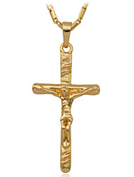 18K Real Gold Platinum Plated Jesus Cross Pendant Necklace Gift for Women Men High Quality