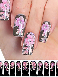 12PCS Flower Style BlackWatermark Nail Art Stickers C2-014