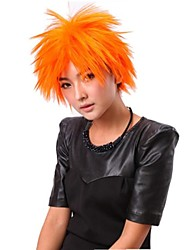 Capless Loose Straight Orange Synthetic Wigs