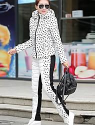 sanfenzise ™ hoodies das mulheres de impressão para baixo terno (revestimento&pant)