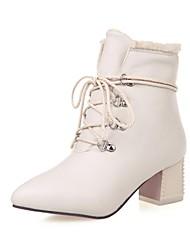 botas de los zapatos de las mujeres del dedo del pie en punta tacón grueso a media pierna con cuello de piel de conejo más colores disponibles
