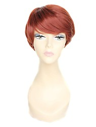 Wine Red Short Straight Side Bang 100% 180 Degree High Temperature Fiber Synthetic Wig