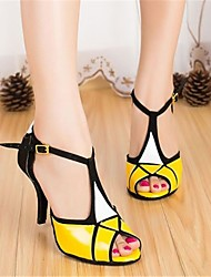 Customizable Women's Dance Shoes Latin Leatherette Customized Heel Yellow