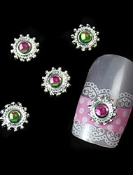 10pcs Colorfull Stone Round Alloy With Gear DIY Nail Art Decoration