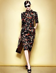 Women's Sheath Dress,Floral Shirt Collar Knee-length ¾ Sleeve Multi-color Polyester / Spandex Spring / Fall / Winter