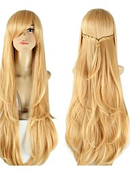 Light Brown Straight Long Synthetic Hair Back Braid Party Cosplay Wig
