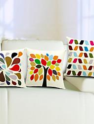 conjunto multicolor de algodão 3 / linho fronha decorativo