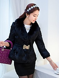 Women 's European Elegant Style Fur Long Sleeve Coat