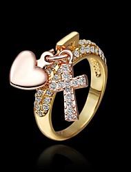 coeur double de couleur&bloquer&en forme de croix alliage or incrusté de strass anneau + or rose (1pc)