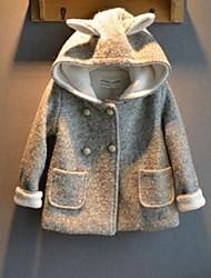 Girl's Lovely Rabbit Double-breasted Fleece Lining Tweed Hooded Coats