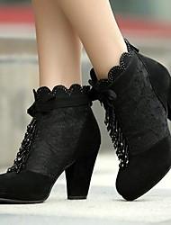 Calçados Femininos - Botas - Arrendondado - Salto Grosso - Preto - Couro - Social