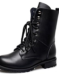 Women's Spring / Fall / Winter Combat Boots Leather Casual Low Heel Lace-up Black