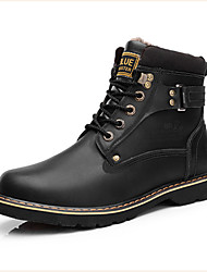 Men's Shoes Casual Leather Boots Black/Brown/Yellow