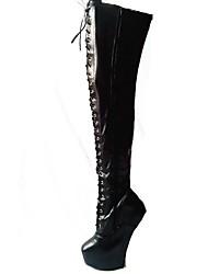 zapatos de las mujeres de la plataforma de la novedad sobre las botas de la rodilla