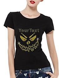 strass personalizado T-shirt do dia das bruxas fantasma padrão de algodão de mangas curtas das mulheres
