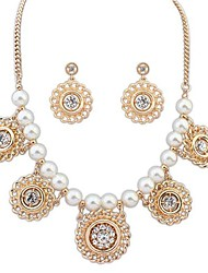 European Style Fashion New Wild Pearl Earrings Necklace Set