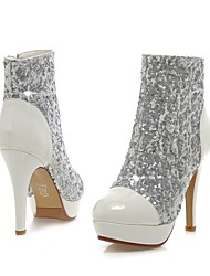 Women's Shoes Round Toe Stiletto Heel Glitter Ankle Boots with Zipper More Colors available