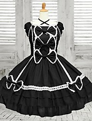 Sweet Lady Sleeveless Knee-length Black Cotton School Lolita Dress