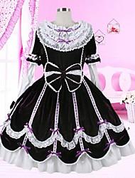 lieve dame lange mouw knie-lengte zwarte en witte katoenen de school lolita jurk
