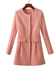 gola redonda casaco de nylon trech das mulheres