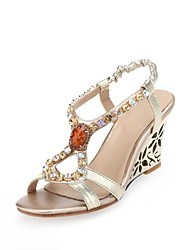 Women's Shoes Leatherette Summer Wedges / Comfort / Square Toe / Open Toe / T-Strap Dress Wedge Heel Crystal / Buckle / Slip-on Gold