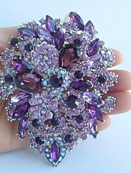 Women's Trendy Alloy Silver-tone Purple Rhinestone Crystal Flower Brooch Pin