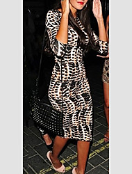 fashion leopard 1/2 sleeve fitted dress
