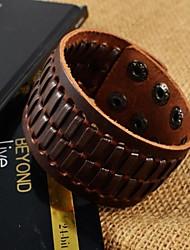espinha de peixe marrom pulseiras de couro largas da forma dos homens