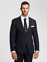 Suits Tailored Fit Notch Single Breasted Two-buttons Polyester 2 Pieces Dark Blue Straight Flapped None (Flat Front) None (Flat Front)