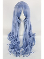 Dark Blue Cosplay Club Party Wig Long Wavy Synthetic Hair Wig For Ladies